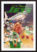 vintage new york jets poster art artist george zebot row one brand sports posters Picture Frame print