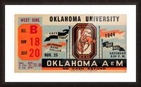 1944 oklahoma sooners osu cowboys ticket stub metal sign college football tickets wood prints art r1 Picture Frame print