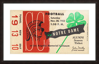 1953 usc notre dame football ticket stub print poster vintage metal sports tickets row 1 Picture Frame print