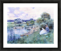 Woman reading by Hassam Picture Frame print