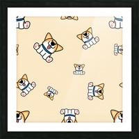 cute welsh corgi puppy sitting seamless pattern Picture Frame print