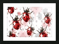 ladybugs pattern texture watercolor_ Picture Frame print