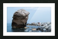 BLUE SEA WITH RED GIRL Picture Frame print