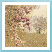 PInk Magnolia Tree Picture Frame print