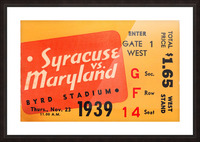 1939 Syracuse vs. Maryland Picture Frame print