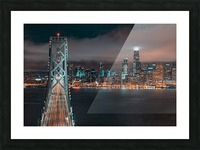 San Francisco Skyline at Night With The Bay Bridge Picture Frame print