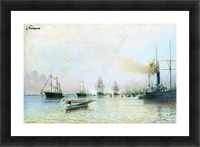Parade of ships of the Baltic fleet on the occasion of the arrival of the German fleet in 1888 Picture Frame print