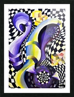 80s Geometric Abstract Watercolor Picture Frame print