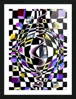 Watercolor Abstract Chess Pattern Picture Frame print