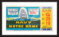 1935 Notre Dame vs. Navy Ticket Stub Wall Art Picture Frame print