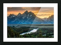 Sunset on Grand Teton and Snake River - Wyoming Picture Frame print