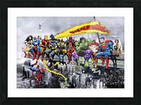 MORE Marvel DC Superheroes Lunch On A Skyscraper New Art Extra Heroes Picture Frame print