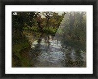 Woodland Scene with a River Picture Frame print