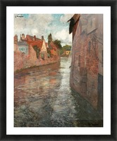 Old houses at somme in Abbeville Picture Frame print