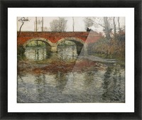 French River Landscape with a Stone Bridge Picture Frame print