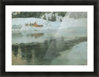 Winter landscape with river Picture Frame print