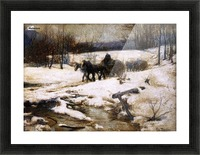 Horse Drawn Carts in Winter Picture Frame print