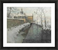 City wall with river during winter Picture Frame print
