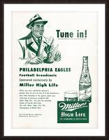 vintage philadelphia eagles miller high life ad poster Picture Frame print