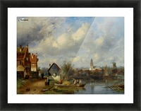 Figures on a Barge Near a Winterside Village Picture Frame print