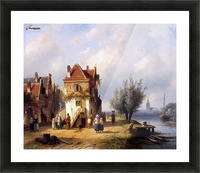Leickert Charles Henri View on a village near to a river Sun Picture Frame print