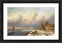 Winter landscape with figures and windmills Picture Frame print