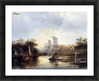 Summerlandscape with mills Sun Picture Frame print