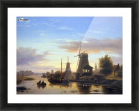 Mills at the Schie at dusk Sun Picture Frame print