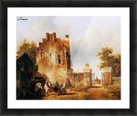 Villagers and horse at tollgate Sun Picture Frame print