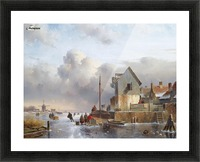 Townsfolk on lake during winter Picture Frame print