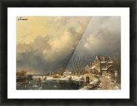 Winter landscape with skaters near a Koek-en-Zopie Picture Frame print