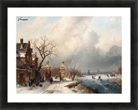 Skaters by a Dutch hamlet Picture Frame print
