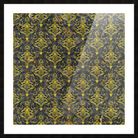 Golden pattern with marble Picture Frame print