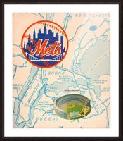 vintage mets shea stadium map poster metal man cave sign Picture Frame print