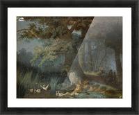 Eendenvijver in een bos met twee jagers Picture Frame print