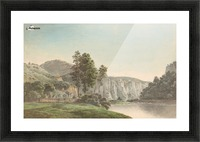 River Landscape with Distant Cliffs Picture Frame print