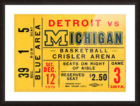 1970 michigan wolverines basketball ticket stub collegiate art Picture Frame print