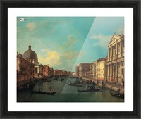 Venezia with figures along the canal Picture Frame print
