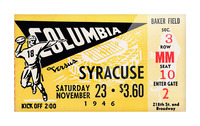 1946 columbia syracuse football ticket stub art number 18 jersey Picture Frame print
