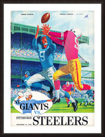 1960 new york giants program cover print on wood Picture Frame print
