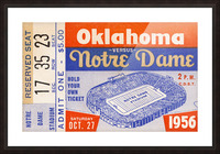 1956 oklahoma notre dame college football ticket stub wall art Picture Frame print