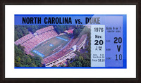 1976 duke north carolina vintage college football ticket art for the wall Picture Frame print