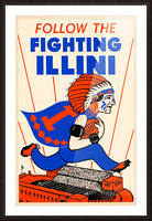 1930 vintage university of illinois fighting illini poster Picture Frame print