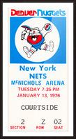1976 denver nuggets vintage ticket stub art Picture Frame print
