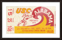 1971 alabama usc trojans football ticket stub prints on wood Picture Frame print