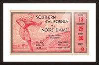 1935 Notre Dame Irish USC Trojans College Ticket Stub Art Picture Frame print