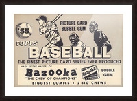 1955 Topps Baseball Bazooka Bubble Gum Vintage Metal Sign Picture Frame print