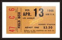 1966 la dodgers baseball ticket stub canvas art Picture Frame print