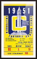 1951 college football season ticket cal bears row 1 Picture Frame print