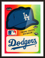 1983 fleer baseball stickers la dodgers ballcap art Picture Frame print